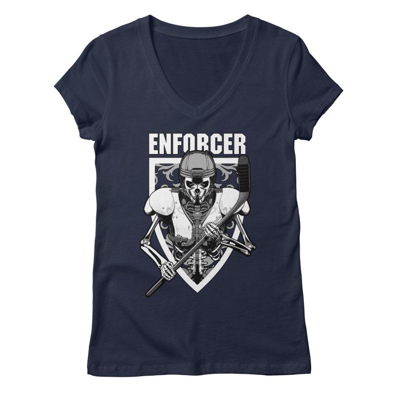 Enforcer Ice Hockey Player Skeleton Women's Regular V-Neck by Grandio Design Artist Shop
