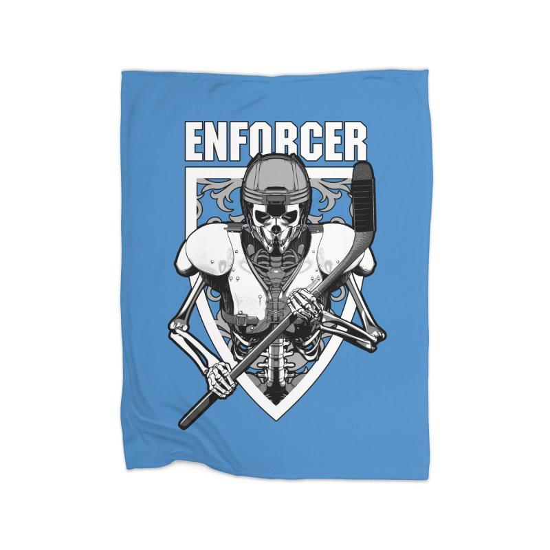 Enforcer Ice Hockey Player Skeleton Home Blanket by Grandio Design Artist Shop