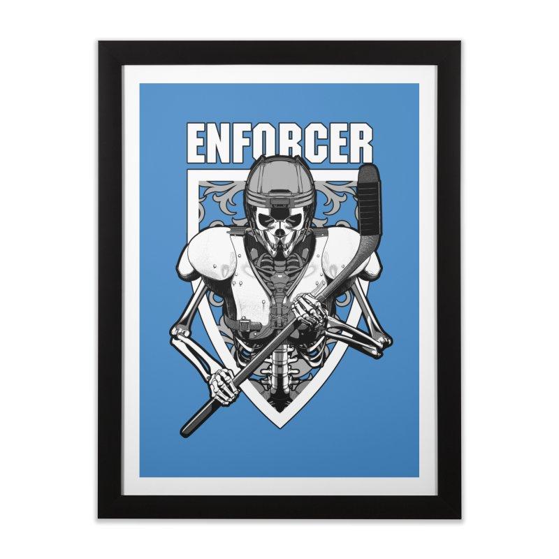 Enforcer Ice Hockey Player Skeleton Home Framed Fine Art Print by Grandio Design Artist Shop