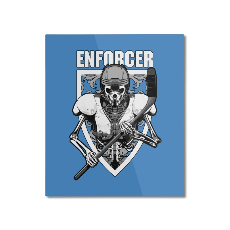 Enforcer Ice Hockey Player Skeleton Home Mounted Aluminum Print by Grandio Design Artist Shop