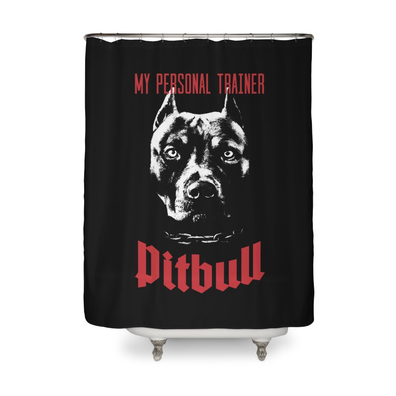 Pitbull My Personal Trainer Home Shower Curtain by Grandio Design Artist Shop