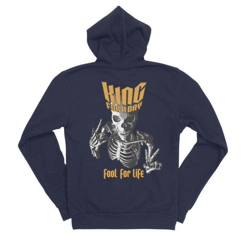 King For A Day Skull Women's Sponge Fleece Zip-Up Hoody by Grandio Design Artist Shop