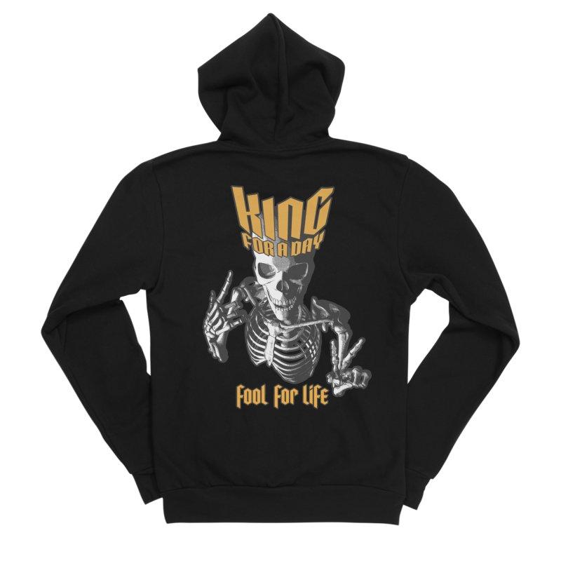 King For A Day Skull Men's Sponge Fleece Zip-Up Hoody by Grandio Design Artist Shop