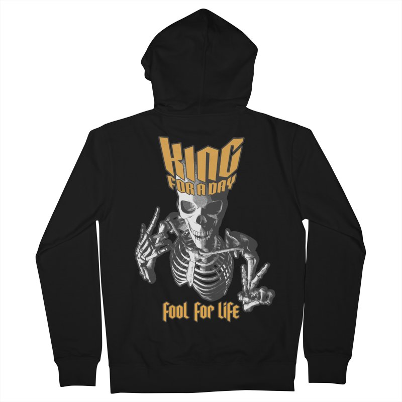 King For A Day Skull Women's French Terry Zip-Up Hoody by Grandio Design Artist Shop