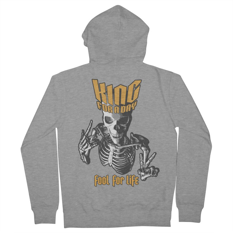 King For A Day Skull Men's French Terry Zip-Up Hoody by Grandio Design Artist Shop