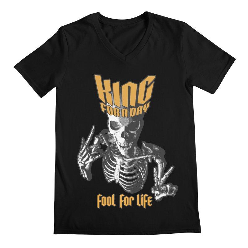 King For A Day Skull Men's Regular V-Neck by Grandio Design Artist Shop