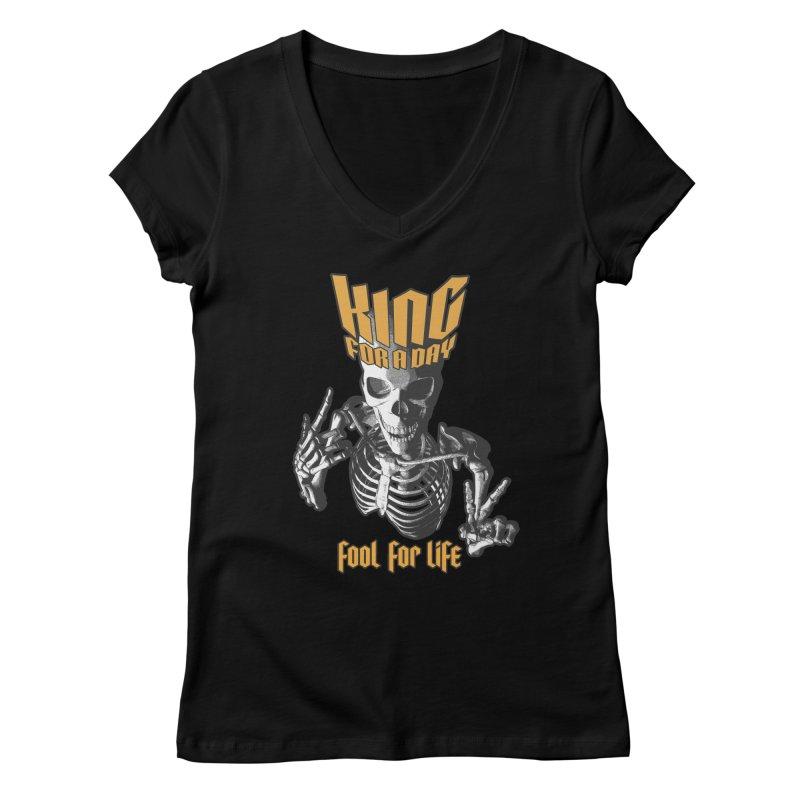 King For A Day Skull Women's Regular V-Neck by Grandio Design Artist Shop