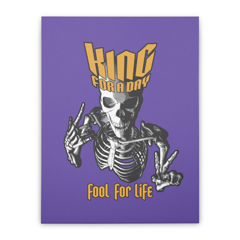 King For A Day Skull Home Stretched Canvas by Grandio Design Artist Shop