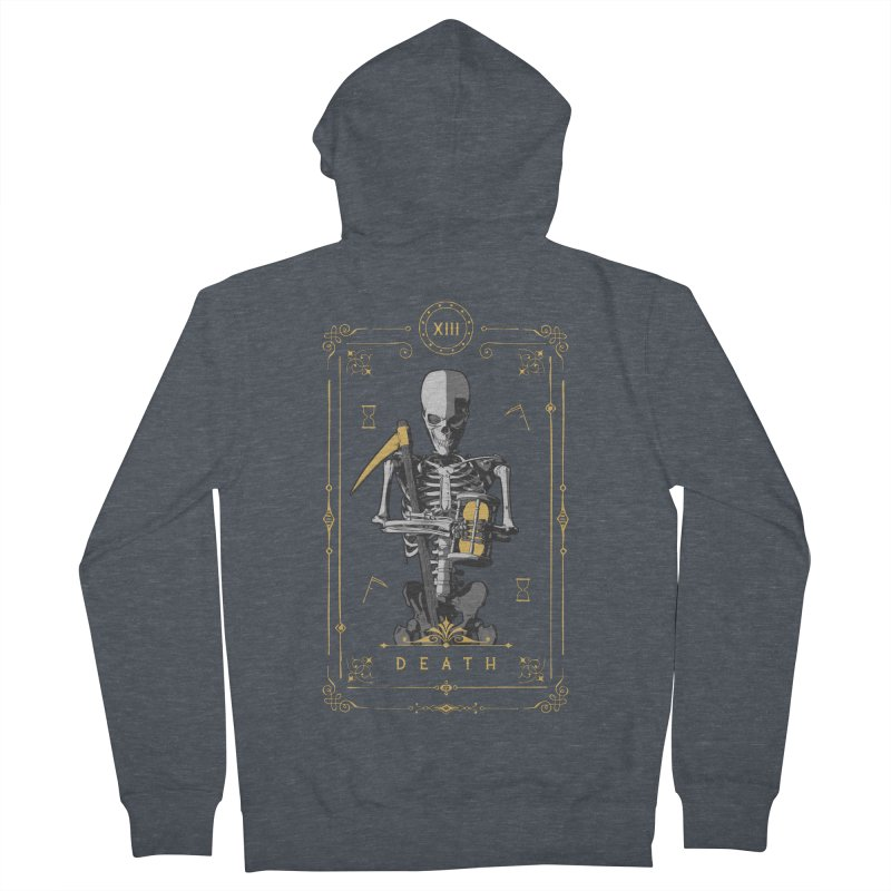 Death XIII Tarot Card Women's French Terry Zip-Up Hoody by Grandio Design Artist Shop