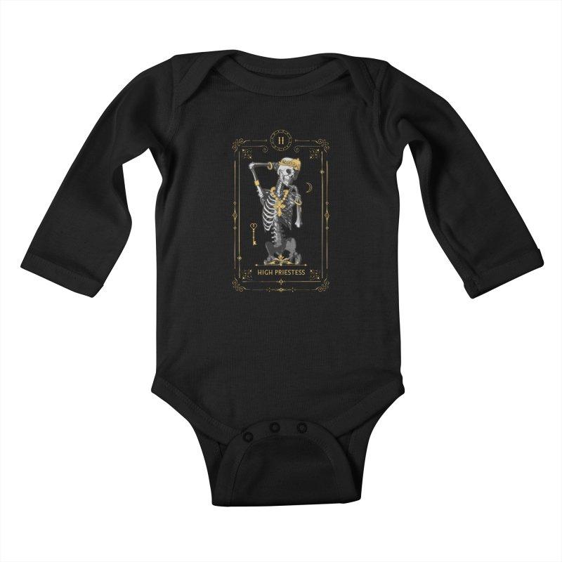High Priestess II Tarot Card Kids Baby Longsleeve Bodysuit by Grandio Design Artist Shop