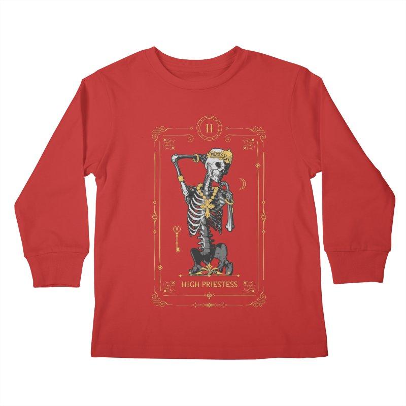 High Priestess II Tarot Card Kids Longsleeve T-Shirt by Grandio Design Artist Shop