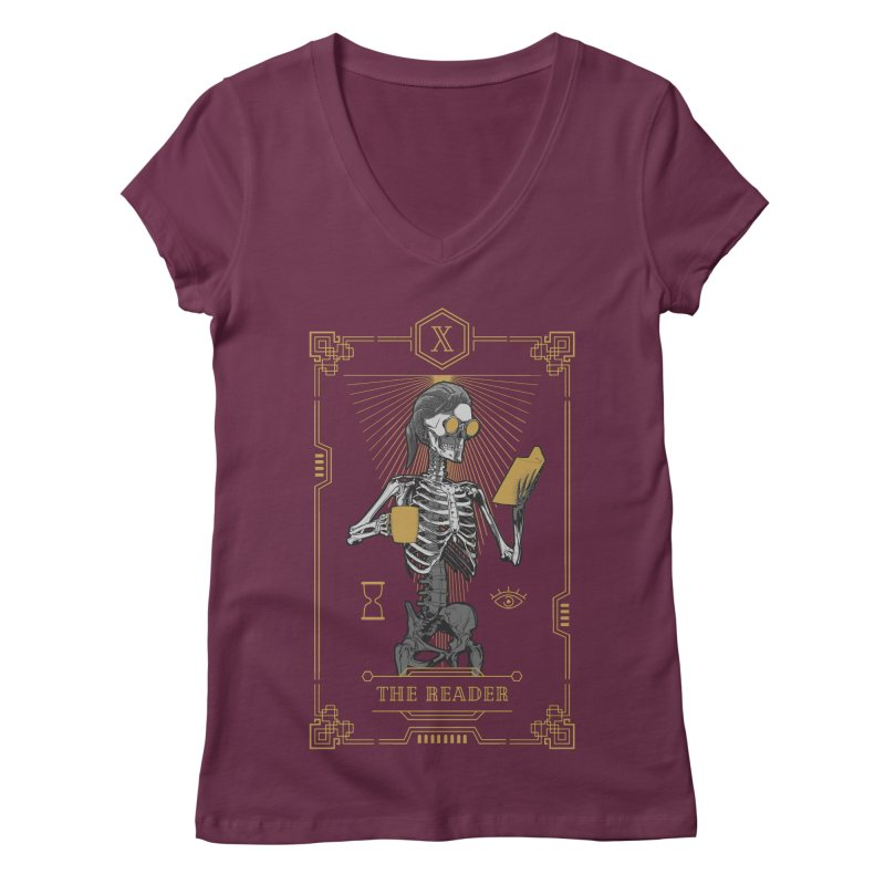 The Reader X Tarot Card Women's Regular V-Neck by Grandio Design Artist Shop