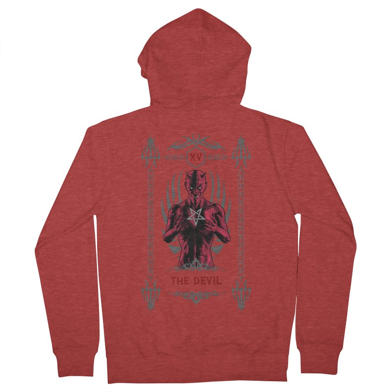 The Devil XV Tarot Card Women's French Terry Zip-Up Hoody by Grandio Design Artist Shop