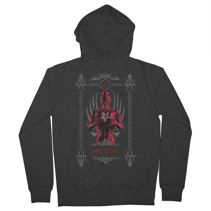 The Devil XV Tarot Card Men's French Terry Zip-Up Hoody by Grandio Design Artist Shop