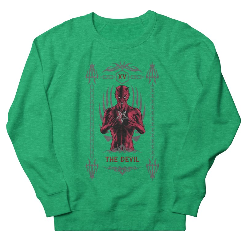 The Devil XV Tarot Card Women's French Terry Sweatshirt by Grandio Design Artist Shop
