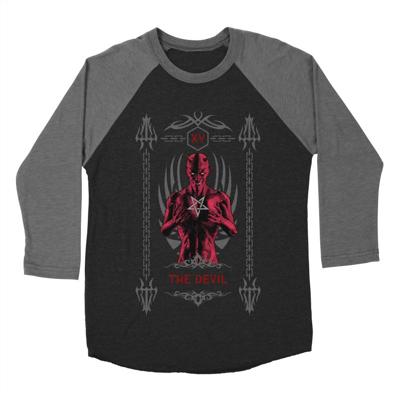 The Devil XV Tarot Card Women's Baseball Triblend Longsleeve T-Shirt by Grandio Design Artist Shop