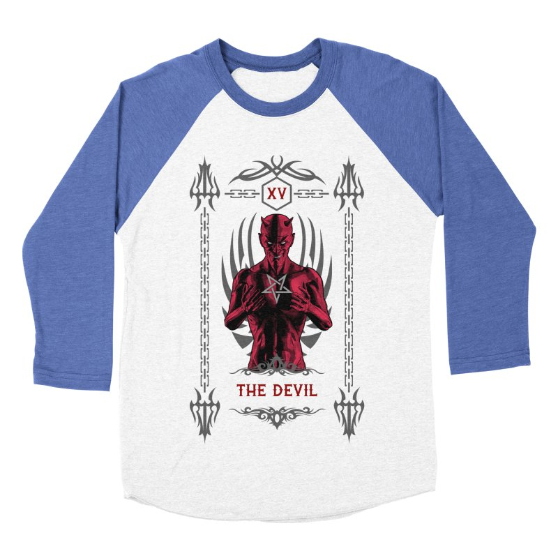 The Devil XV Tarot Card Men's Baseball Triblend Longsleeve T-Shirt by Grandio Design Artist Shop
