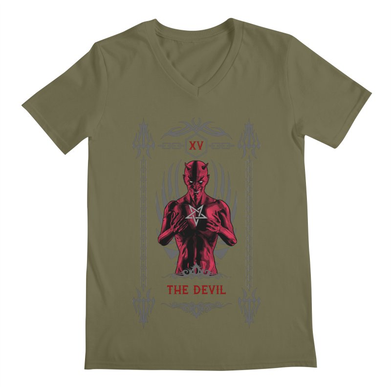 The Devil XV Tarot Card Men's Regular V-Neck by Grandio Design Artist Shop