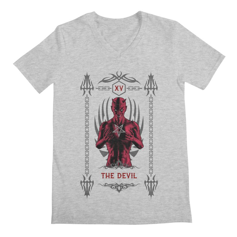 The Devil XV Tarot Card Men's Regular V-Neck by Grandio Design Artist Shop