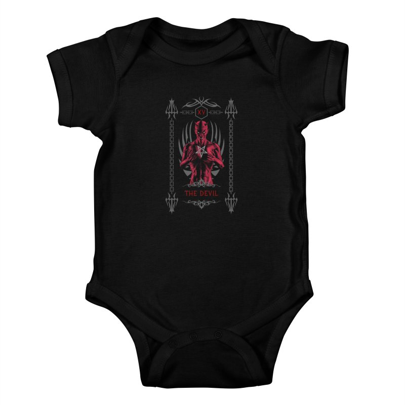 The Devil XV Tarot Card Kids Baby Bodysuit by Grandio Design Artist Shop