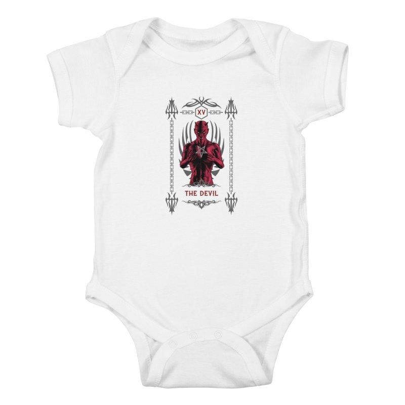 The Devil XV Tarot Card Kids Baby Bodysuit by Grandio Design Artist Shop
