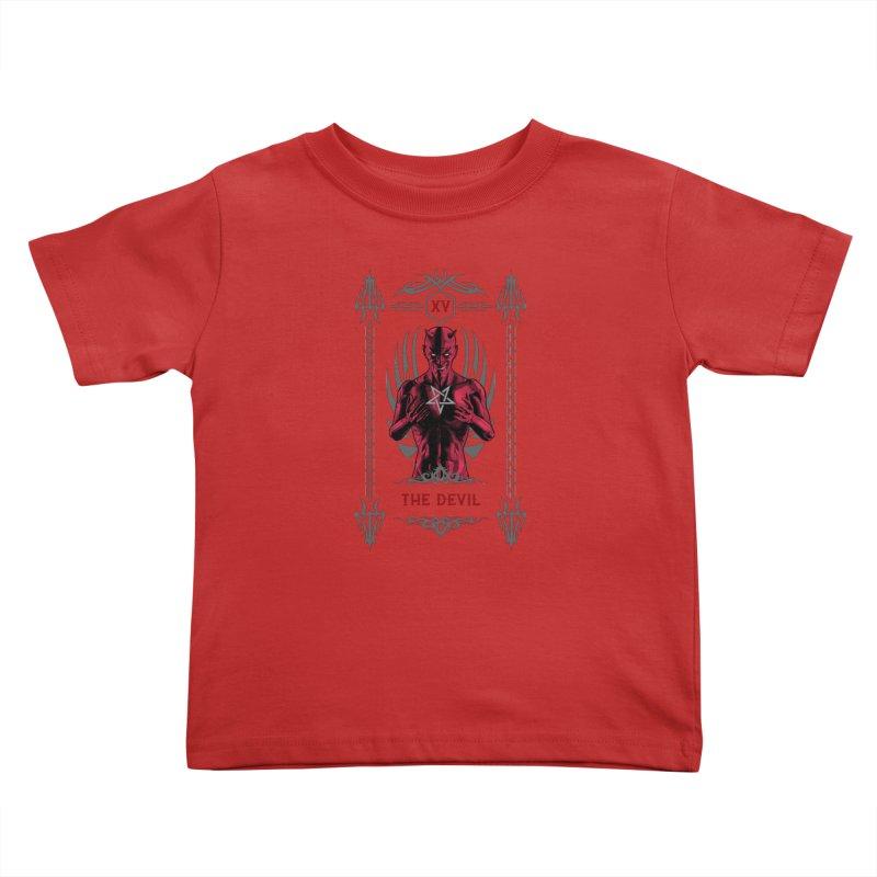 The Devil XV Tarot Card Kids Toddler T-Shirt by Grandio Design Artist Shop