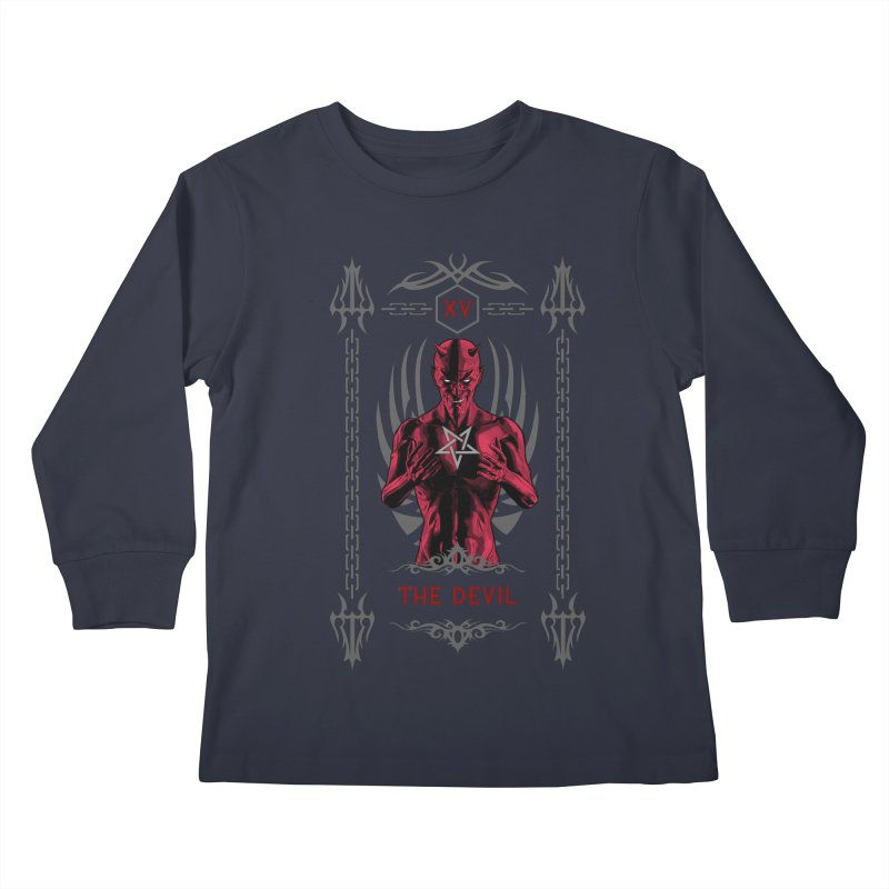 The Devil XV Tarot Card Kids Longsleeve T-Shirt by Grandio Design Artist Shop