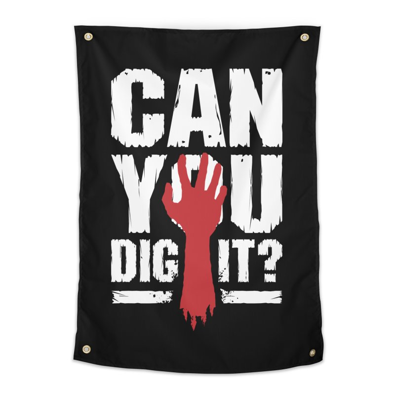 Can You Dig It? Funny Zombie Halloween Home Tapestry by Grandio Design Artist Shop