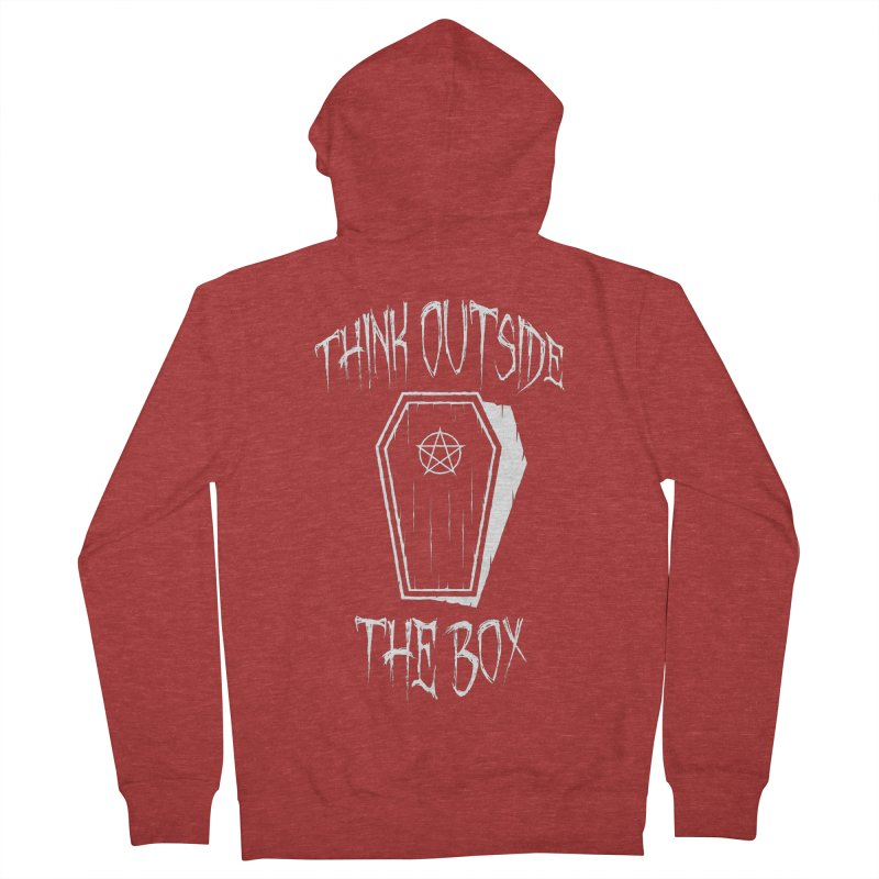 Think Outside The Box Goth Coffin Humour Men's French Terry Zip-Up Hoody by Grandio Design Artist Shop