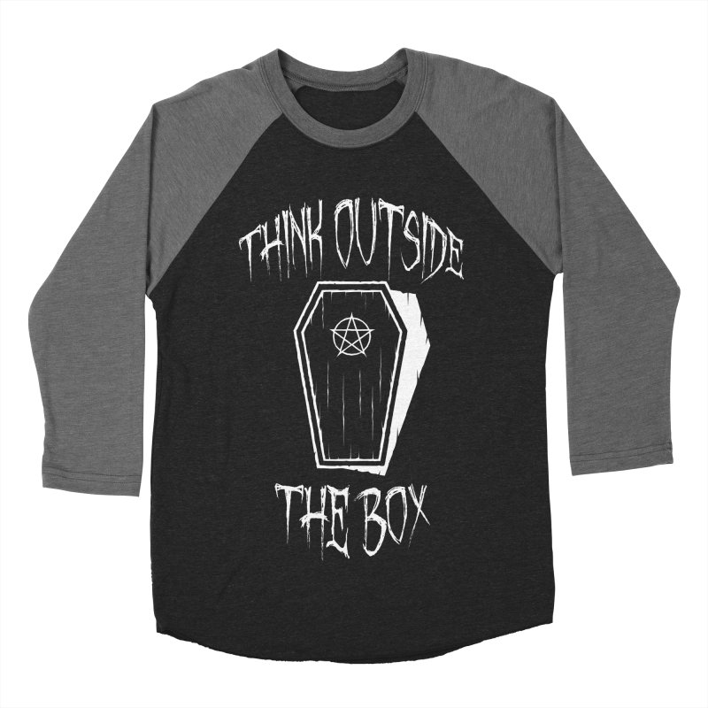 Think Outside The Box Goth Coffin Humour Men's Baseball Triblend Longsleeve T-Shirt by Grandio Design Artist Shop