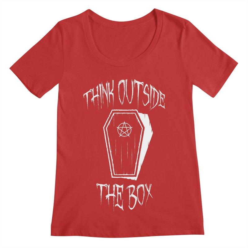 Think Outside The Box Goth Coffin Humour Women's Regular Scoop Neck by Grandio Design Artist Shop