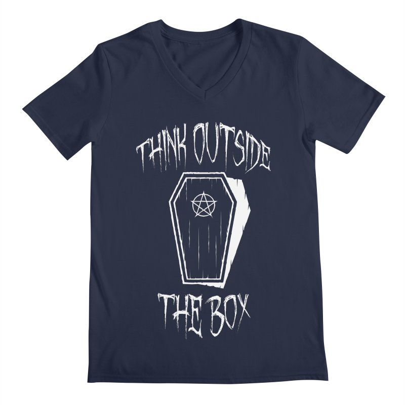 Think Outside The Box Goth Coffin Humour Men's Regular V-Neck by Grandio Design Artist Shop