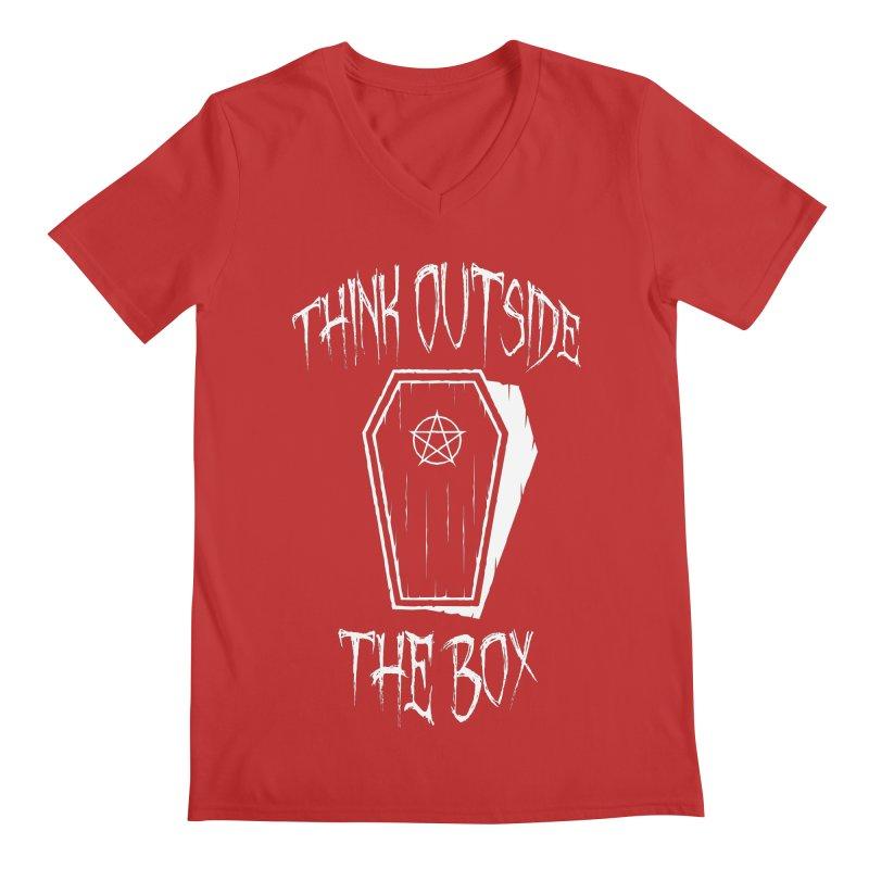 Think Outside The Box Goth Coffin Humour Men's Regular V-Neck by Grandio Design Artist Shop
