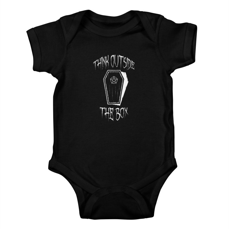 Think Outside The Box Goth Coffin Humour Kids Baby Bodysuit by Grandio Design Artist Shop