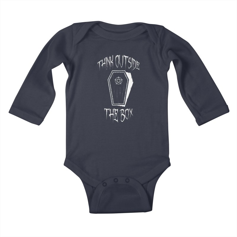 Think Outside The Box Goth Coffin Humour Kids Baby Longsleeve Bodysuit by Grandio Design Artist Shop