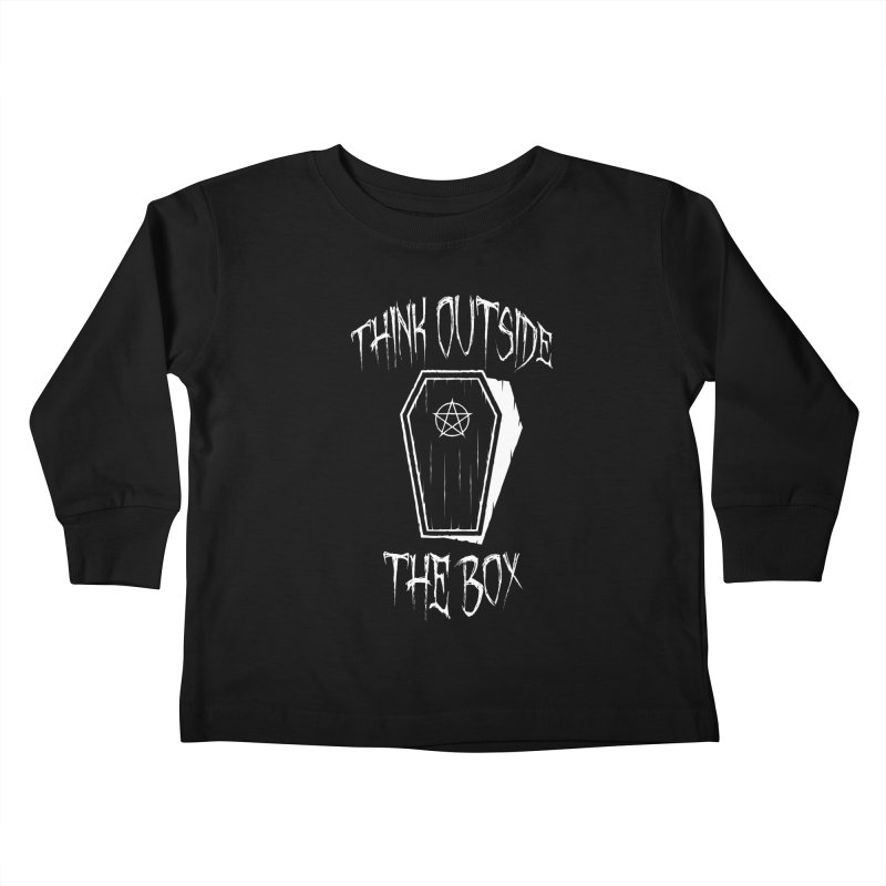 Think Outside The Box Goth Coffin Humour Kids Toddler Longsleeve T-Shirt by Grandio Design Artist Shop