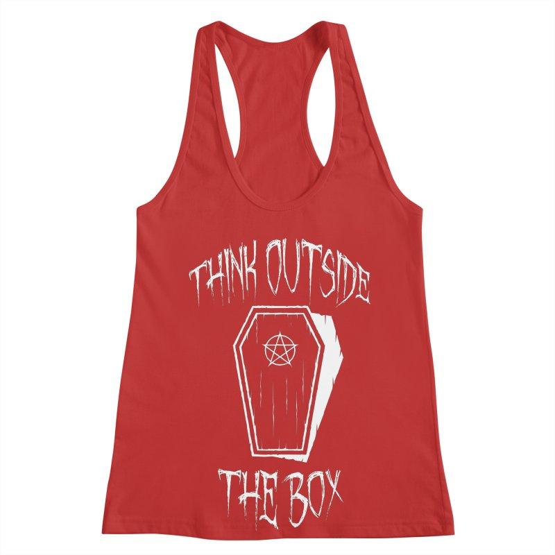 Think Outside The Box Goth Coffin Humour Women's Racerback Tank by Grandio Design Artist Shop