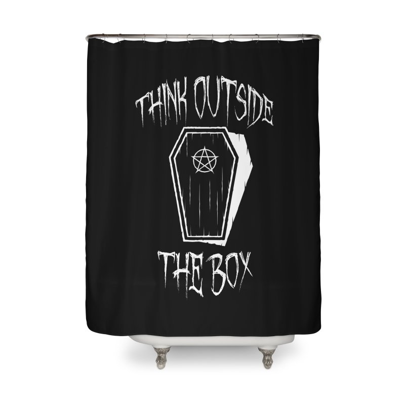 Think Outside The Box Goth Coffin Humour Home Shower Curtain by Grandio Design Artist Shop