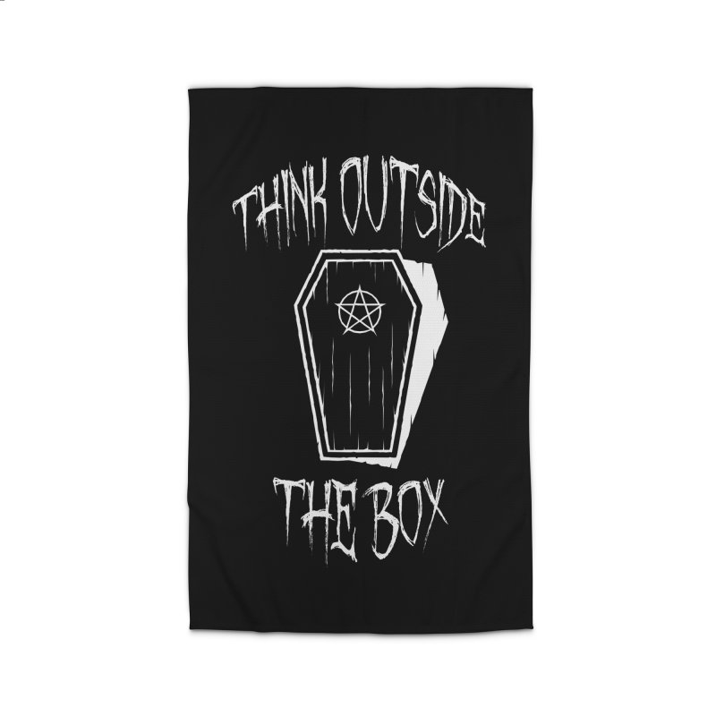 Think Outside The Box Goth Coffin Humour Home Rug by Grandio Design Artist Shop