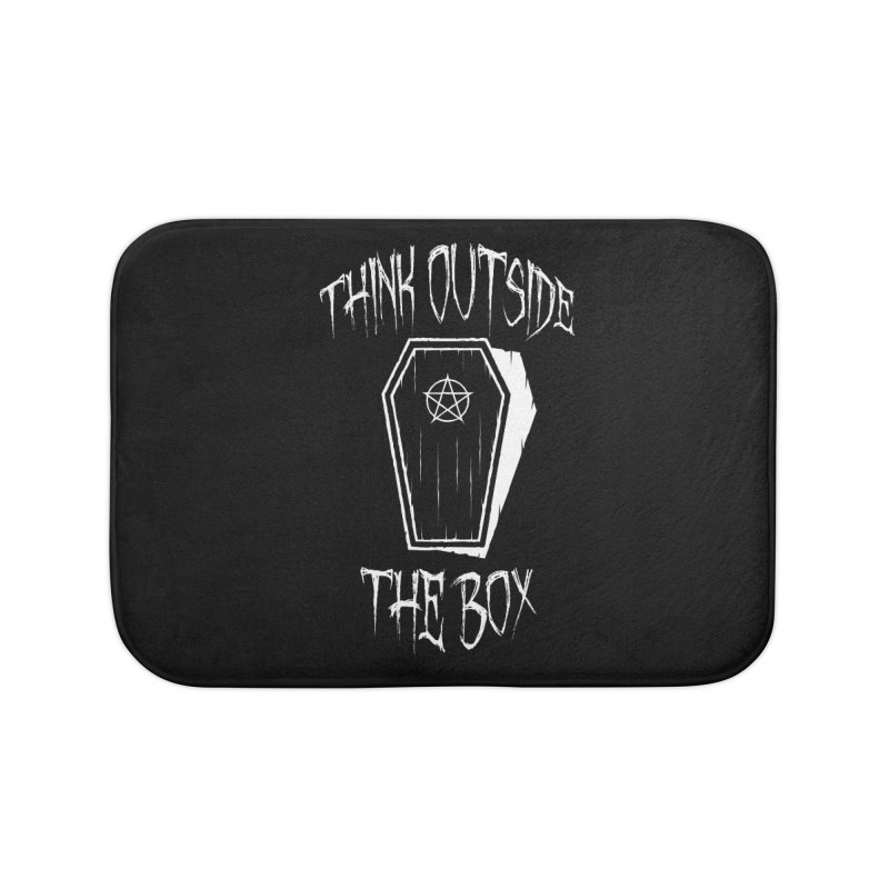 Think Outside The Box Goth Coffin Humour Home Bath Mat by Grandio Design Artist Shop
