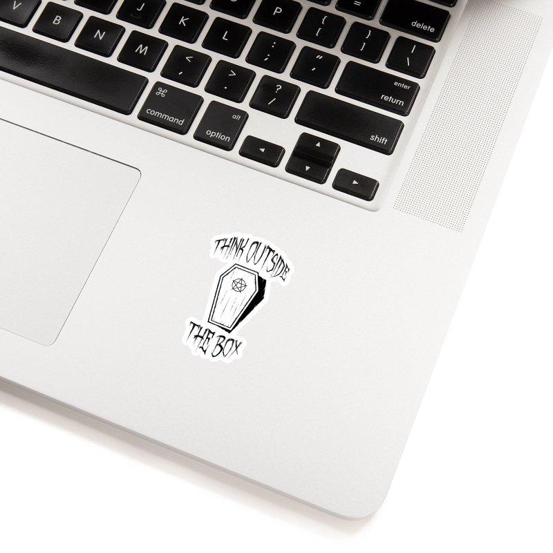 Think Outside The Box Goth Coffin Humour Accessories Sticker by Grandio Design Artist Shop