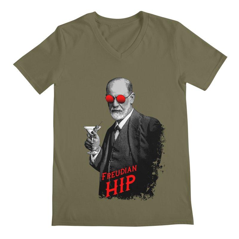 Hipster Psychologist Sigmund Freud Men's Regular V-Neck by Grandio Design Artist Shop