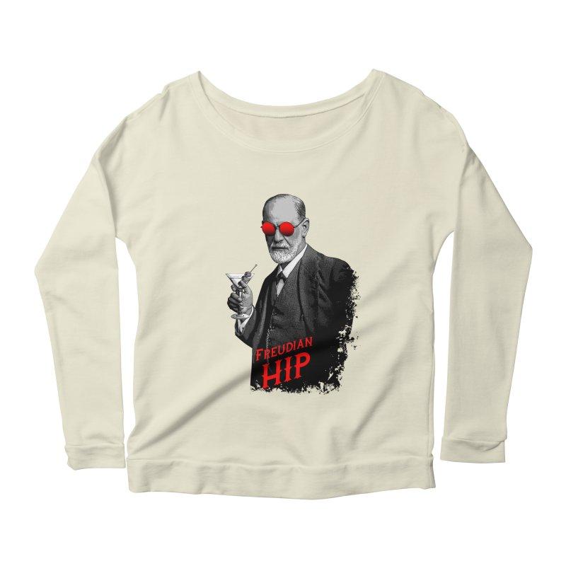 Hipster Psychologist Sigmund Freud Women's Scoop Neck Longsleeve T-Shirt by Grandio Design Artist Shop