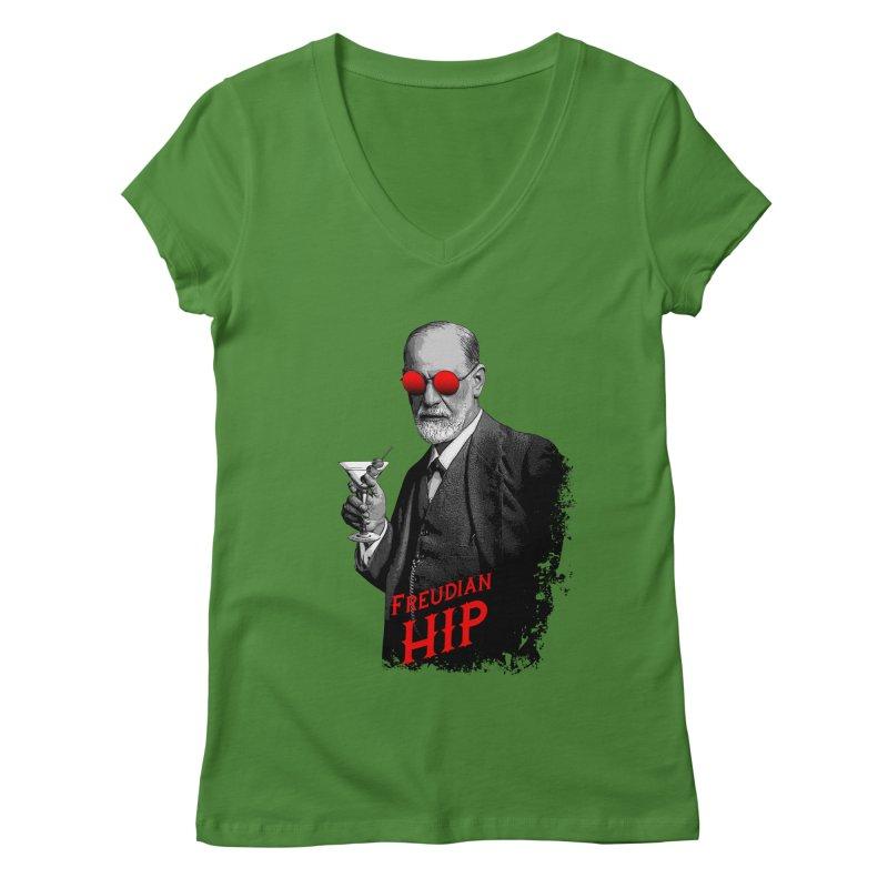 Hipster Psychologist Sigmund Freud Women's Regular V-Neck by Grandio Design Artist Shop