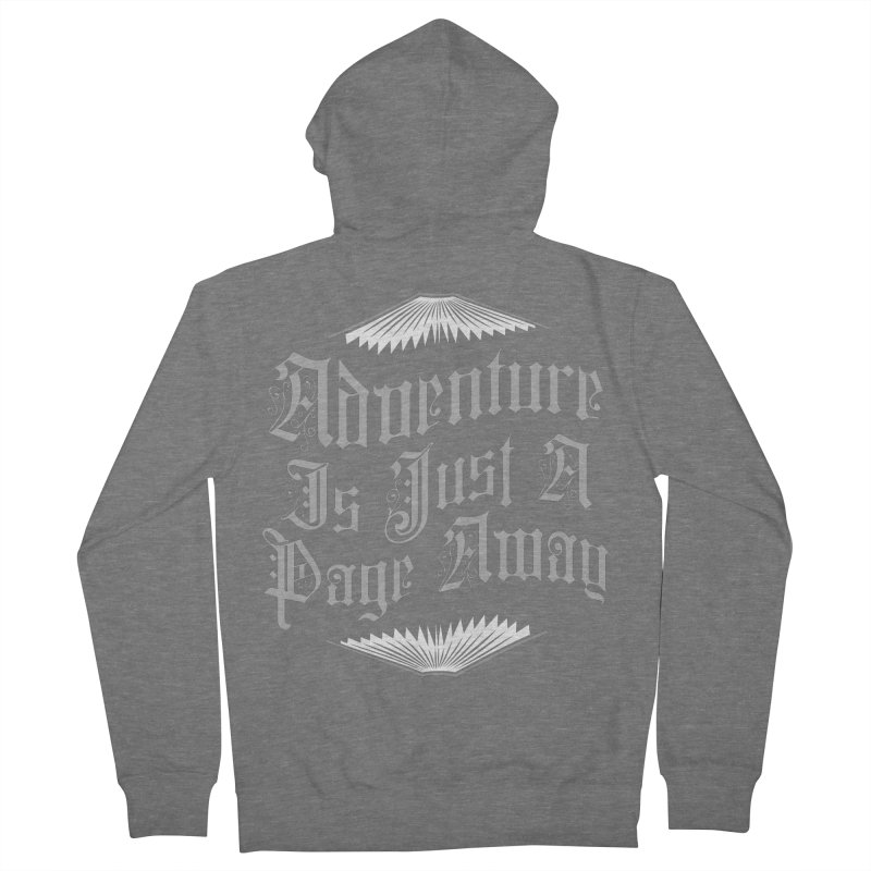 Adventure Is Just A Page Away Men's French Terry Zip-Up Hoody by Grandio Design Artist Shop