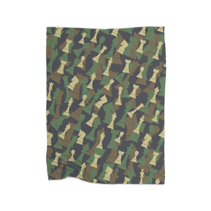 Chess Camo WOODLAND Home Blanket by Grandio Design Artist Shop