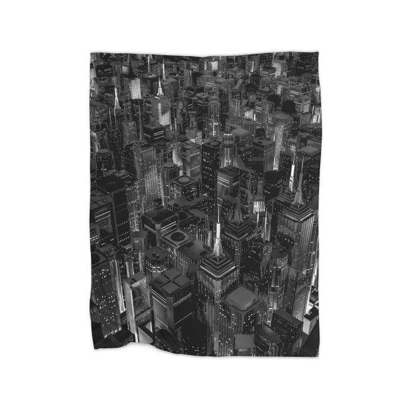 Night City Glow B&W Home Blanket by Grandio Design Artist Shop