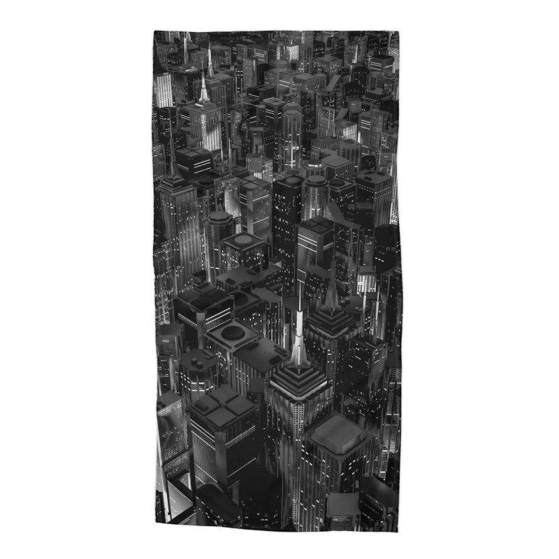 Night City Glow B&W Accessories Beach Towel by Grandio Design Artist Shop