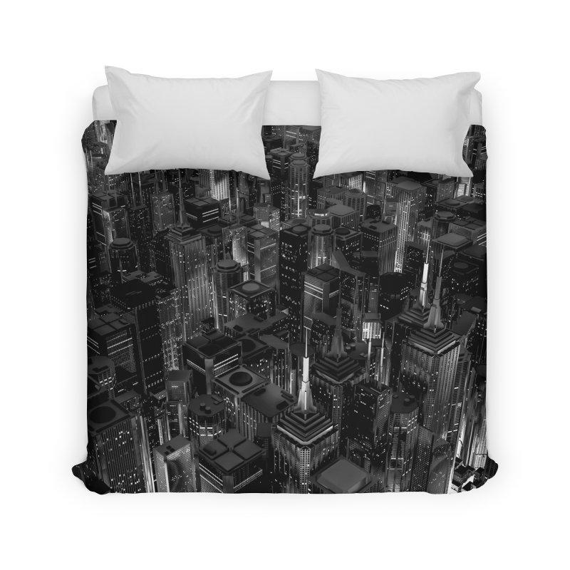 Night City Glow B&W Home Duvet by Grandio Design Artist Shop