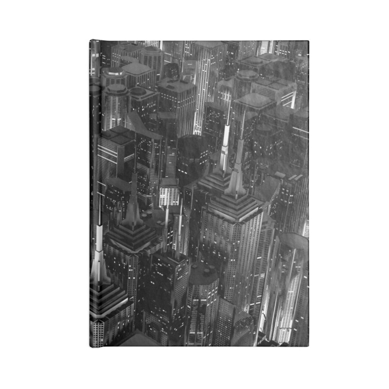 Night City Glow B&W Accessories Notebook by Grandio Design Artist Shop
